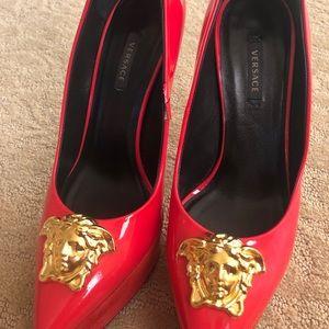 Orange Versace heels